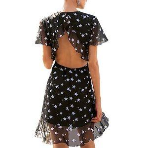 Backless Black stars mini dress chiffon small